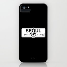 Seoul South Korea with World Map GPS Coordinates and Compass iPhone Case