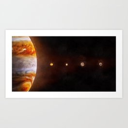 Jupiter & moons to scale Art Print