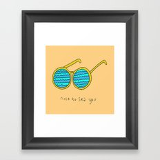 Nice to Sea You Retro Shades Coral Framed Art Print