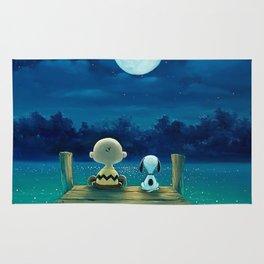 snoopy night moon Rug