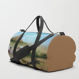 Passing Chimney Rock on the Dusty Oregon Trail Duffle Bag