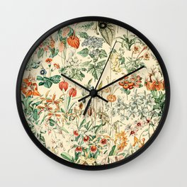 Flower Diagram // Fleurs V by Adolphe Millot XL 19th Century French Science Textbook Artwork Wall Clock