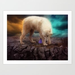 Giant Wolf with Woman by GEN Z Art Print