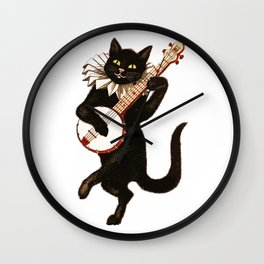 Black Halloween Cat for Decor and T Shirts Wall Clock