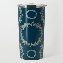 Eucalyptus Patterns with Navy Blue Background Realistic Botanic Patterns Organic & Geometric Pattern Travel Mug