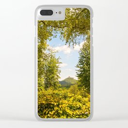 Trifels castle framed by green trees Clear iPhone Case