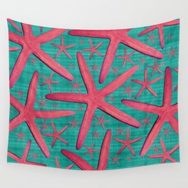 Starfish in Turquoise and Pink Wall Tapestry
