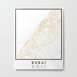 DUBAI UNITED ARAB EMIRATES CITY STREET MAP ART Metal Print