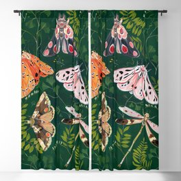 Moths and dragonfly Blackout Curtain