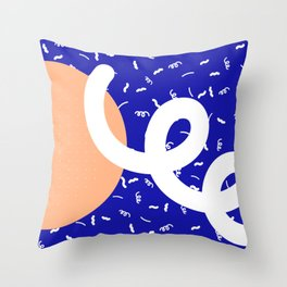 Peach + Blue Abstract Pattern Throw Pillow
