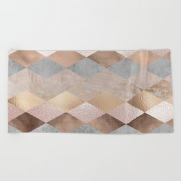 Copper and Blush Rose Gold Marble Argyle Beach Towel