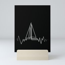 Sailboat Heartbeat Cool Gift for Sailors and Captains Premium design Mini Art Print