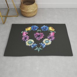 Lovely Flowers Black Rug