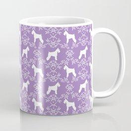 Schnauzer floral silhouette pattern schnauzers minimal lilac purple dog Coffee Mug