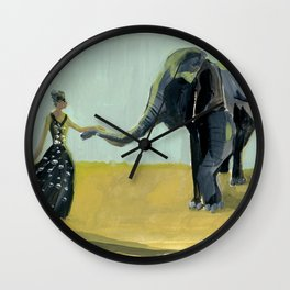Girl and Elephant Wall Clock