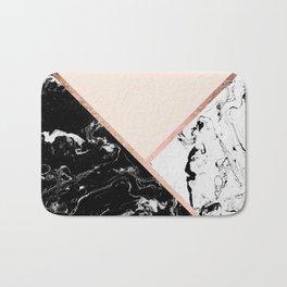 Modern black white marble rose gold color block stripes blush pink Bath Mat