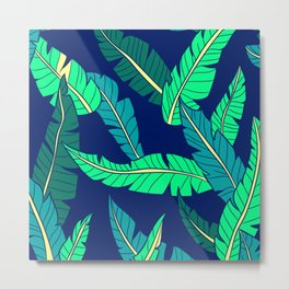 Tropical Leaf Pattern in Gorgeous Green and Teal Metal Print