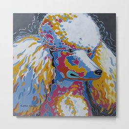 Daisy the Standard Poodle Pop Art Dog Portrait Metal Print