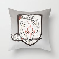 okami Throw Pillows featuring God Hound [Okami] by Ruwah