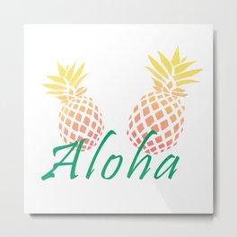 """Cute pineapples """"Aloha"""" Metal Print"""