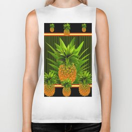 MODERN ART GREEN-BLACK  HAWAIIAN PINEAPPLE ART Biker Tank