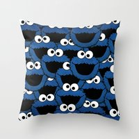 cookie monster Throw Pillows featuring Cookie Monster  by aldarwish