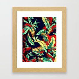 Madagascar Exotic Leaves Midnight Framed Art Print