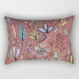 Flowers and Leaves Pattern Rectangular Pillow