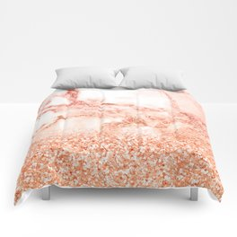 Sparkly Peach Copper Rose Gold Ombre Bohemian Marble Comforters