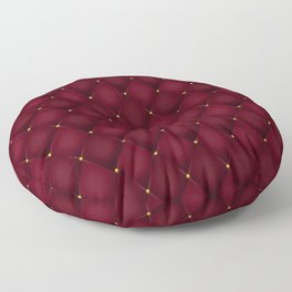 Burgundy Quilted Leather Floor Pillow