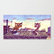 Cats on the roof Canvas Print