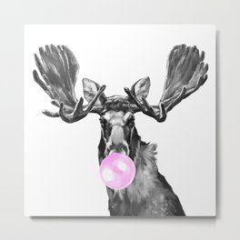 Bubble Gum Moose in Black and White Metal Print