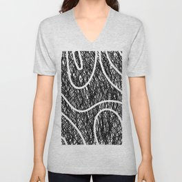 Scribble Ripples - Abstract Black and White Ink Scribble Pattern Unisex V-Neck