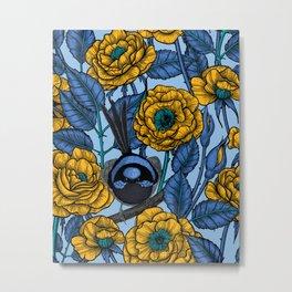 Wren in the roses  Metal Print