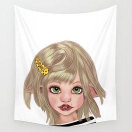 Big eyes Pierced pixie girl Wall Tapestry