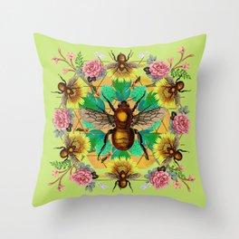 Bee Mandala Throw Pillow