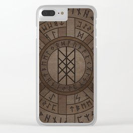 Web of Wyrd The Matrix of Fate- Wooden Texture Clear iPhone Case