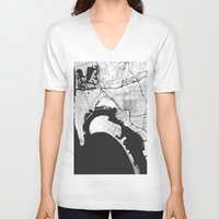 san diego V-neck T-shirts featuring San Diego Map Gray by City Art Posters