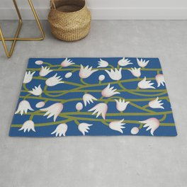 Climbing Lillies on Classic Blue Rug