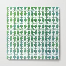 Art Deco Avalon Shell Pattern Green Blue Metal Print
