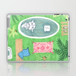 Green Tiled Bath drawing by Amanda Laurel Atkins Laptop & iPad Skin