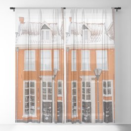Orange Winter House in the Snow   Travel & City Photography in Hanzestad the Netherlands, Europe Sheer Curtain
