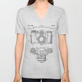 Camera Patent - Photography Art - Black And White Unisex V-Neck