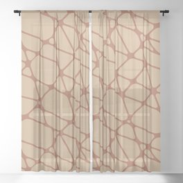 Cavern Clay SW 7701 Abstract Mosaic Pattern 2 on Ligonier Tan SW 7717 Sheer Curtain