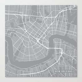 New Orleans Map, Louisiana USA - Pewter Canvas Print