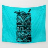 tiki Wall Tapestries featuring Tiki Paradise by Fontolia (Katie Blaker)