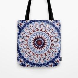 Mandala Fractal in Red White and Blue 01 Tote Bag