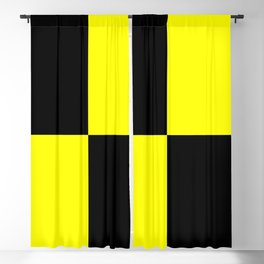 Bright Fluorescent Yellow Neon & Black Checked Checkerboard Blackout Curtain