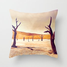 deadvlei desert trees acrls Throw Pillow