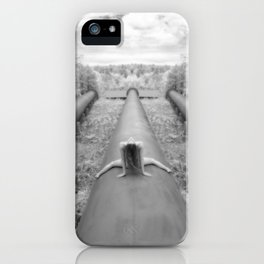 0925-LP Industrial Nature Nude Woman Straddling Massive Hydro Pipe iPhone Case